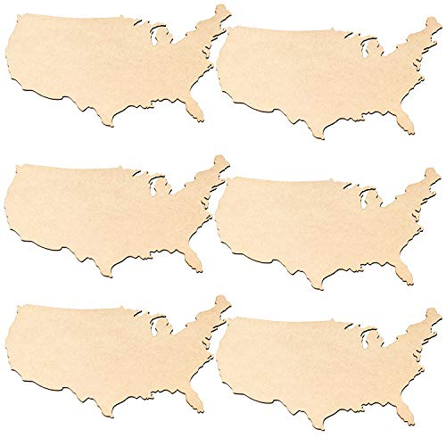 - Unfinished Wood Cutout - 6-Pack USA Wooden Map, United States Cutout, USA Wood Pieces, for Craft Project, Geography Class Material, Home July 4th Party Decoration, 11.5 x 8.4 x 0.1 Inches