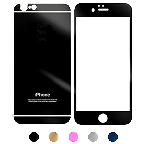Gravydeals Black Electroplating 2 pcs/lot Front+Back Mirror Effect Tempered Glass Anti Scratches Sticker Decal Screen Protector Film for iPhone 6 Plus / 6S Plus (5.5 Inch)+US SHIPPING