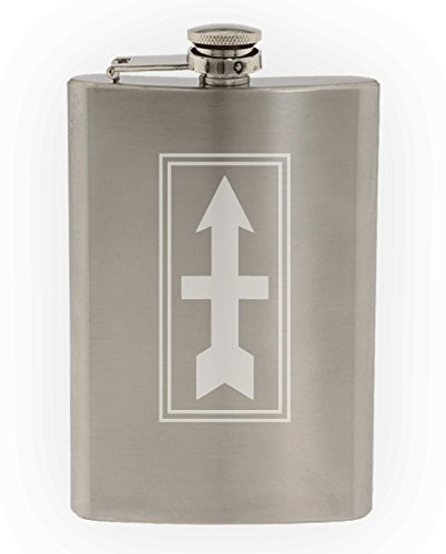 US Army - 32nd Infantry Division SSI Patch Etched 8oz Stainless Steel Flask (Pentagon Tank)