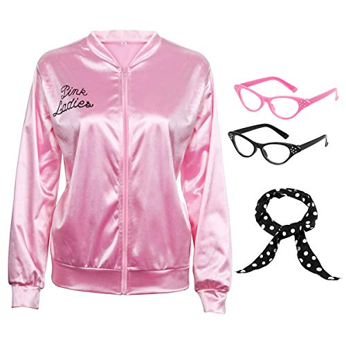 50S Pink Satin Zipper Jacket with Polka Dot Scarf Cat Eye Glasses Women Girls Hen Night Party Halloween Costume Fancy Dress Props (14, Child)