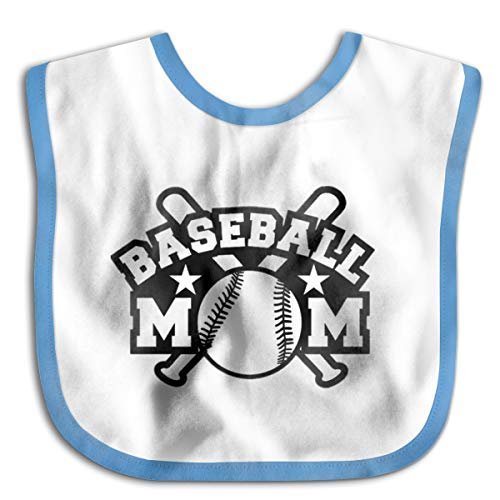 Nutmix Absorbent Cotton Newborn Baby Baseball Mom Adjustable Bibs Blue