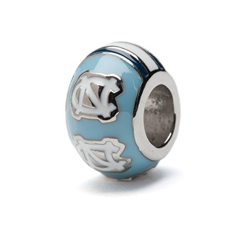 University of North Carolina Charm | UNC Tar Heels - White and Blue NC Bead Charm | Officially Licensed University of North Carolina Jewelry | UNC Gifts | UNC Charms | Stainless Steel ()