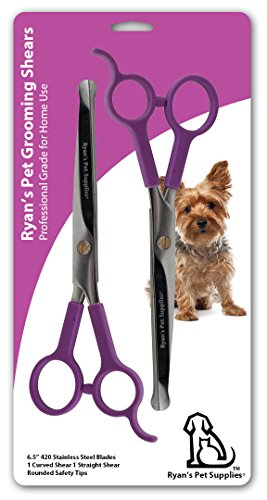 Professional Dog Grooming Scissors from Ryan's Pet Supplies, Two Pairs Stainless Steel Scissor Kit, Thinning Shears for Dogs and Pets, 1x Straight Shear for Body and 1x Curved Shear for Face and Paws
