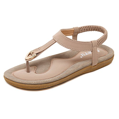 HGWXX7 Flat Sandals,Women's Summer Boho Large Size Comfortable Basic Beach Shoes(US-6.5/CN-40,Pink)