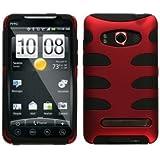 MyBat HTCEVO4GHPCSK002NP Titanium Fishbone Protective Case for HTC Evo 4G - 1 Pack - Retail Packaging - Red/Black