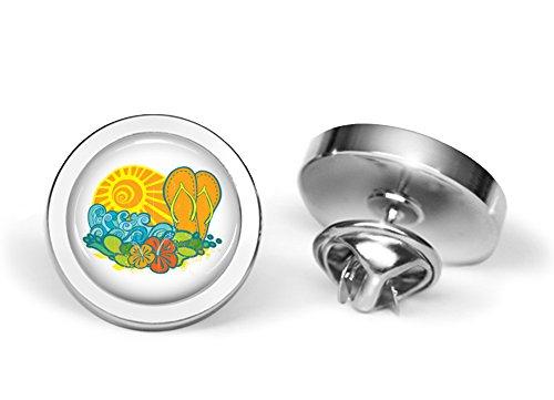 Cufflinks Pattern Silver - Oakmont Cufflinks Hawaiian Beach Pattern Pin Hawaii Brooch (Silver-Plated)