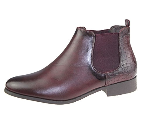 Casual Riding Ankle Boots Elasticated Top Womens Wine Size Shoes PU High Ladies Chelsea xB4CYawq