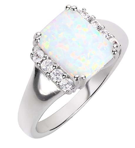 - CloseoutWarehouse Rectangle White Simulated Opal and Cubic Zirconia Ring Sterling Silver Size 8