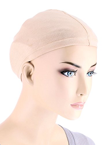 Turban Plus Bamboo Wig Liner Cap In Beige 2 pc Pack For Women With Cancer, Chemo, Hair Loss