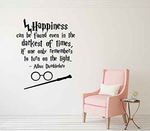 Harry Potter Wall Decal Happiness Can Be Found Even in the Darkest of Times Harry Potter Wall Decal Quote Hogwarts Wall Decal Vinyl Sticker Nursery Teens Room Kids Decor 1Stop shop