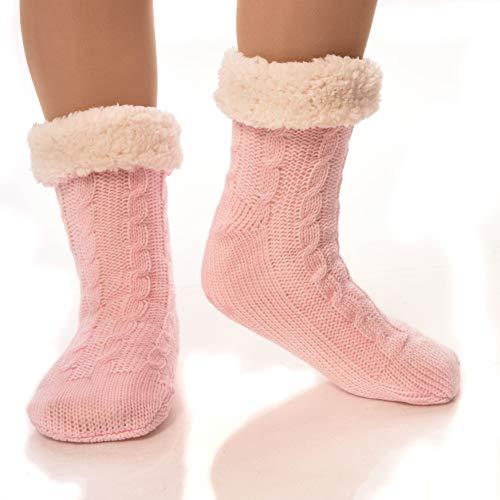 f189e32d7 DEBRA WEITZNER Slipper Socks for Women and Men Fleece Socks Gripper Cozy  Socks Pink