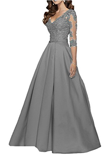 AngelaLove Applique V-Neck 3/4Long Sleeve Mother of The Bride Dress Beaded Formal Evening Gown Grey