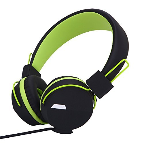 Yomuse F85 On Ear Foldable Headphones with Microphone for Kids Teens Adults, Smartphones iPhone iPod iPad Laptop Tablets Mp3/4 Black Green