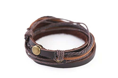 Perdy Jewelry Brown Leather Wrap Bracelet Handmade - Adjustable Wristband for Men or Women Multilayer Cuff Accessory with snap Clasp