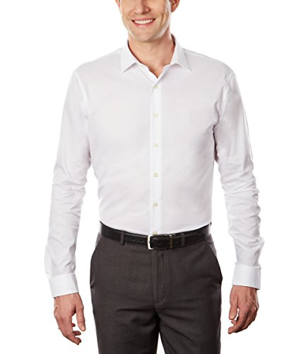 "Kenneth Cole Unlisted Men's Dress Shirt Slim Fit Solid , White, 15""-15.5"