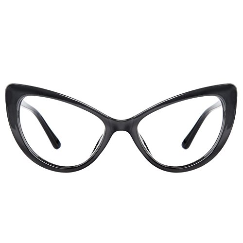 GLASSESLIT Women's Super Trendy Fashion High Pointed Cat Eye Clear Lens - Cat Prescription Glasses Large Eye