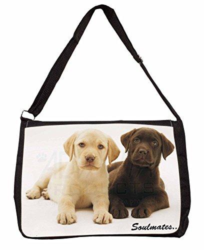 Yellow+Chocolate Labrador Puppies 'Soulmates' Large 16 Black School Laptop Shou