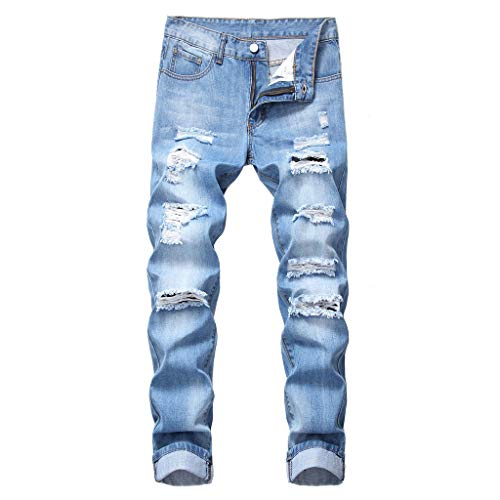 Liberty Waterproof Jacket - Guo Nuoen Men's Fashion Slim Fit Personality Straight Casual Ripped Dark Blue Jeans Distressed Male Denim Hole Pants