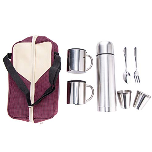 Picnic Coffee Set - Xena 10 Piece Elegant Brushed Stainless Steel Travel Coffee Tea Tote 500ml Thermos 2 Mug with Lid 4 Cup Spoon and Fork Magenta Tan Carrying Bag Set, 6.5 x 10.5 x 3 Inch Picnic Camping Outdoor BBQ