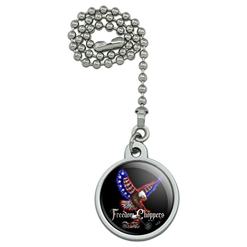 (GRAPHICS & MORE Freedom Choppers Motorcycle Patriotic American Flag Eagle Bike Ceiling Fan and Light Pull Chain)