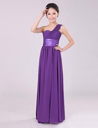 PU&PU Robe Aux femmes Trapèze / Swing Couleur Pleine Une Epaule Maxi Mousseline de soie , purple-2xl , purple-2xl