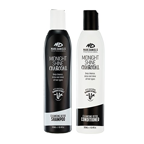 Charcoal Clarifying Shampoo & Conditioner Set Sulfate Free with Bamboo Extract Detoxifying for All Hair Types - Color Treated, Oily, Frizzy – for Women & Men by MARC DANIELS - Color Clarifying Treated Hair Shampoo