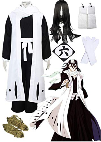 (YOUYI Death Bleach Kuchiki Byakuya Cosplay Halloween 6th Division Captain Cosplay Costume Full Suit (Male XL))