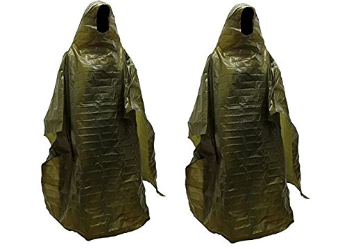 2 Pack Lightweight Rain Gear Poncho Emergency Survival Cover Shelter Norwegian Military Surplus by ABC Beskyttende