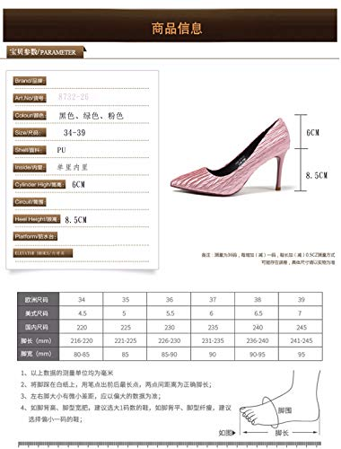 Girls' Wedding Heels Folds green And KPHY Pointed Shoes Sexy Thin Night Small Autumn Banquet Shallow 1TqFvt