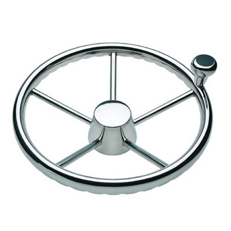 Ongaro 170 13.5'' Stainless 5-Spoke Destroyer Wheel w/Stainless Cap and FingerGrip Rim - Fits 3/4'' Tapered Shaft Helm by Schmitt & Ongaro Marine