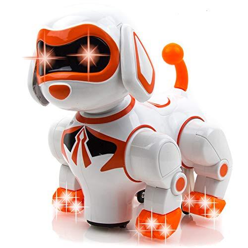 Toysery Interactive Robot Dog Kids Toy - Children's Pet Robot Puppy Toy with Flashing Light & Sound - Walks, Runs, Barks, Bump 'n' Go Robotic Dog Toys for Girls, Boys