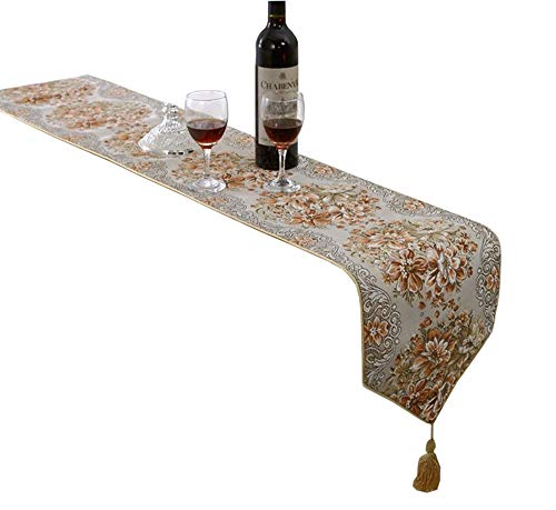 HomeyHo Floral Table Runner Wedding European Style Table Runner for Kitchen Table Decorate Table Runner Luxury Table Runner Damask Table Runner Long Dining Table Runner, 11 x 71 Inch, Gold ()