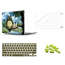 WYGCH 4 in 1 Plastic PC Hard Case Shell &Keyboard Cover&Screen Protector&Dustproof Plug for MacBook Pro(W/O USB-C) Retina 13 Inch(A1502/A1425)(W/O CD-ROM) 2015/2014/2013/end 2012,Color Painted Totoro