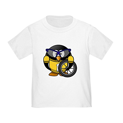 Truly Teague Toddler T-Shirt Little Round Penguin - Cyclist in Yellow Jersey - White, 2T (24 Months)