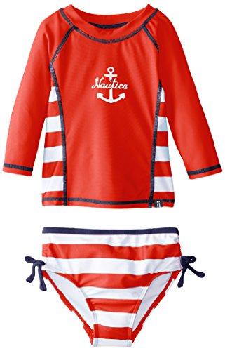 Nautica Little Girls' Stripe and Anchor Rashguard Swim Set, Red, 4T