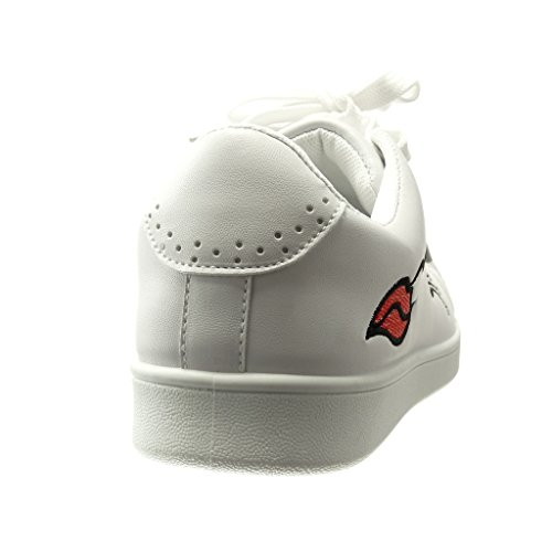 Angkorly - Scarpe da Moda Sneaker low donna fantasia ricamo finitura cuciture impunture Tacco tacco piatto 0 CM - Bianco
