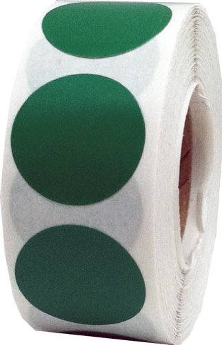 """1"""" Inch Round Green Color Code Dot Stickers - 1,000 Circle Labels Per Roll"""