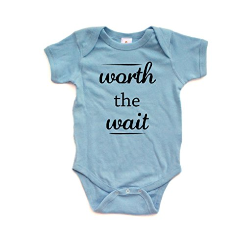 Apericots Cute Worth The Wait Fun Infant Short Sleeve Soft Cotton Bodysuit,Light Blue,Newborn
