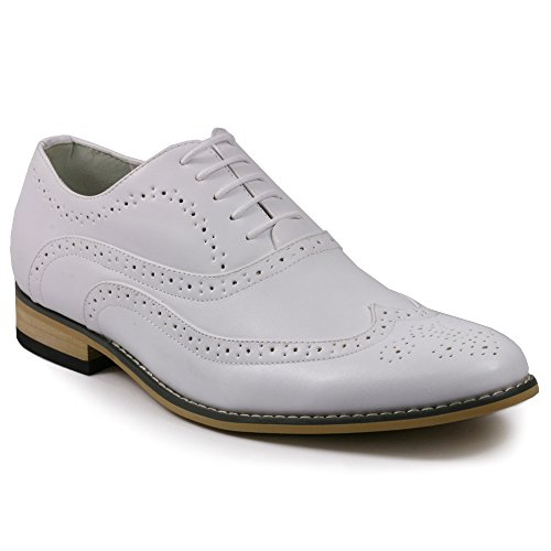 Metrocharm MC102 Men's Wing Tip Perforated Lace Up Oxford Dress Shoes (10.5, White) ()
