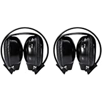 Two Pack of Two Channel Folding Universal headphone for Car Radio Audio DVD Listening Headsets Universal Rear Entertainment System Infrared earphones