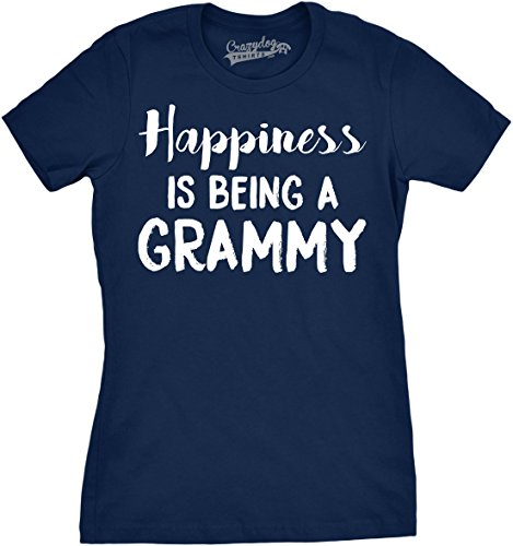 Crazy Dog T-Shirts Womens Happiness is Being a Grammy Funny Grandmother Tee for Grandma (Navy) - L