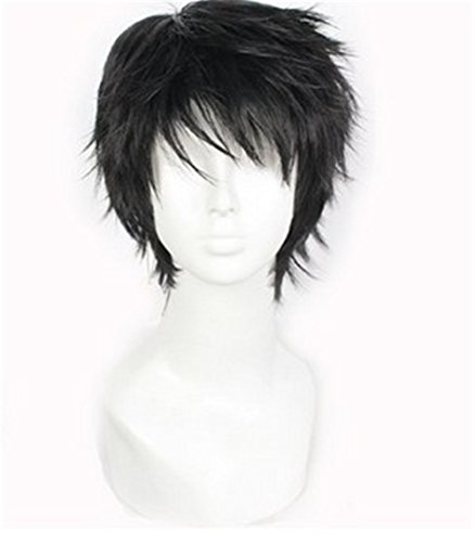 Short Black Men Fluffy Straight Anime Cosplay Heat Resistant Halloween (Anime Halloween)
