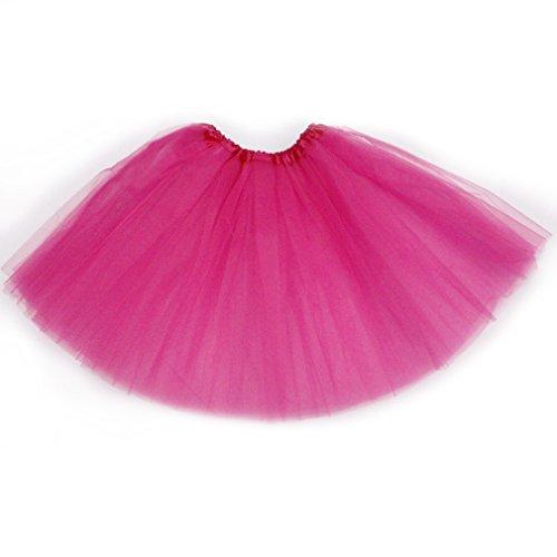 Dreamdanceworks Women's Classic Elastic, 3-layered Tulle Tutu Skirt (Hot pink)