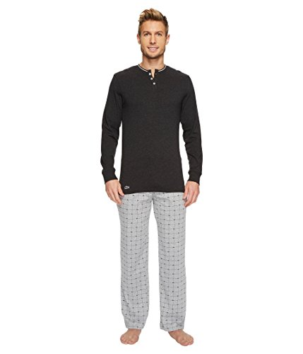 Lacoste Unisex-Adults Long Sleeve Henley and Signature Print Knit Pant Set, Light Grey, (Lacoste Cotton Henley)