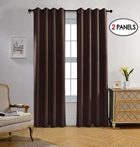 - Miuco Room Darkening Textured Grommet Window Blackout Curtains 2 Panels Bedroom 52x95 Inch Chocolate