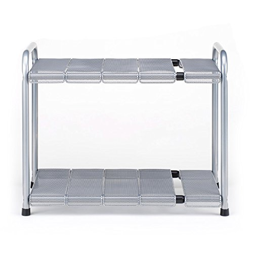 Seville Classics Expandable Under-Sink Shelf with Steel Mesh and Removable Panels SHE14048B