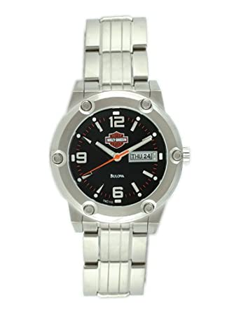 Harley-Davidson® Mens Bulova® Watch. Matte Black Dial. 76C110