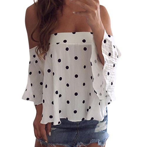 Crinkle Chiffon Button Shirt Front (NEWONESUN Clearance!!Women Sexy Dot Printing One Shoulder T-Shirt Vest Tank Tops Blouse)