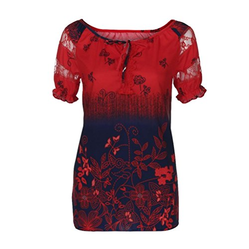 CUCUHAM Women Short Sleeve V-Neck Lace Printed Lace Tops Loose T-Shirt ()