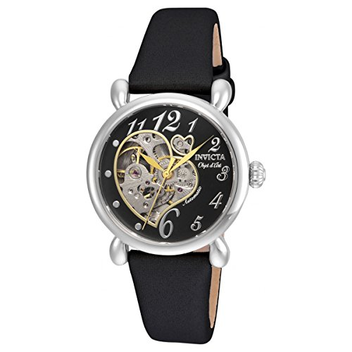 Invicta Women's 'Objet D Art' Automatic Stainless Steel and Satin Casual Watch, Color:Black (Model: 22647)